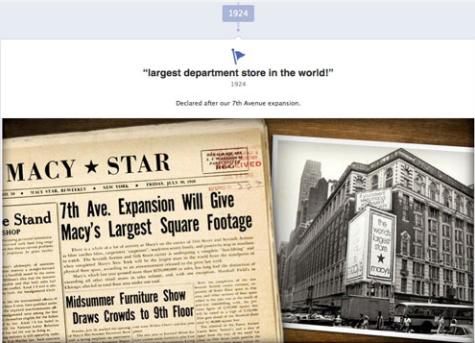 Macy's usa los Acontecimientos Importantes para crear una página más atractiva.