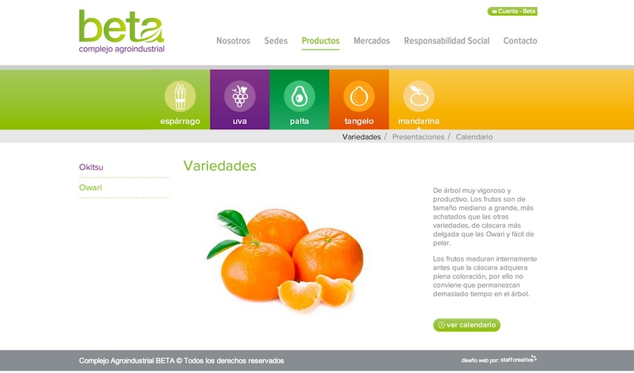 pagina de producto mandarina - agroindustrial beta