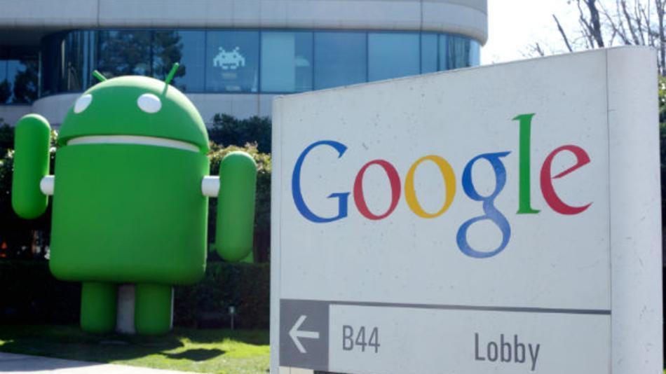 Muñeco de Andy, la mascota de Android, en el campus de Google
