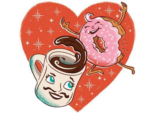 El ilustrador Joe Snow rindió tributo al Día de San Valentín con este dibujo.