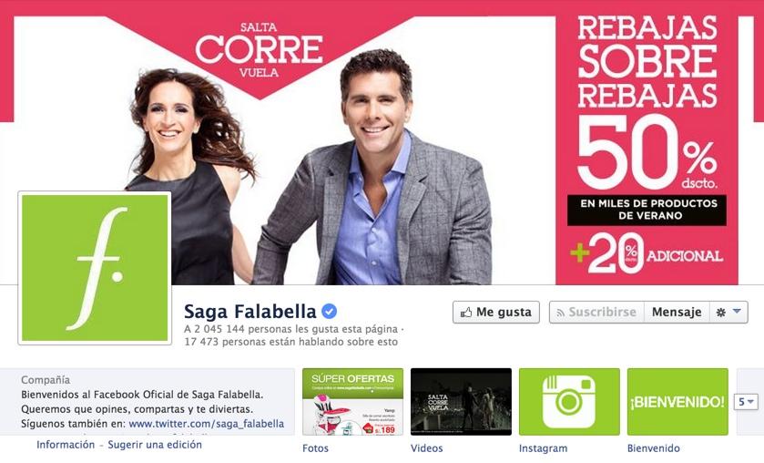 pagina en facebook de saga falabella