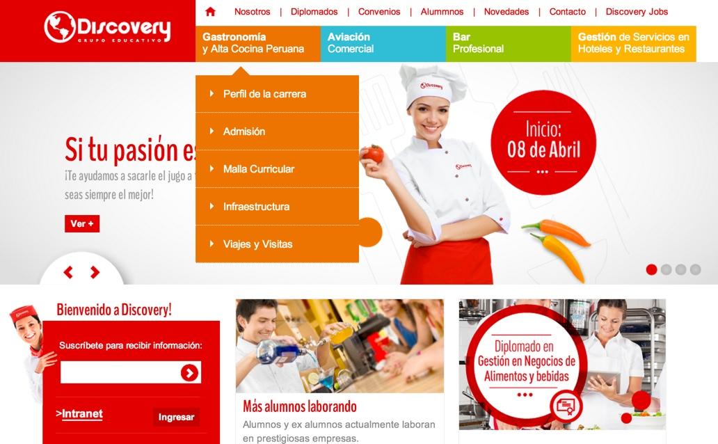 Portal del Grupo Educativo Discovery, desarrollado por Staff Creativa