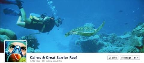 Cairns & Great Barrier Reef usa una foto foto evocadora para transmitir la belleza de la gran barrera de coral.